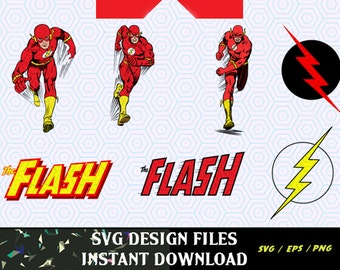 Super Hero The Flash SVG Logos and Super Hero Figures, SVG, PNG T Shirt Design for Silhouette Cameo Cut Files, Svg Print and Cut Files