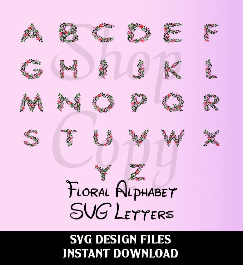 Floral alphabet svg monogram vector font flower