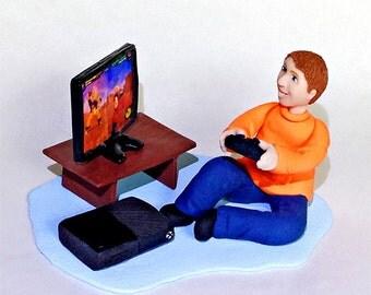 Video Gamer Cake Topper Figurine