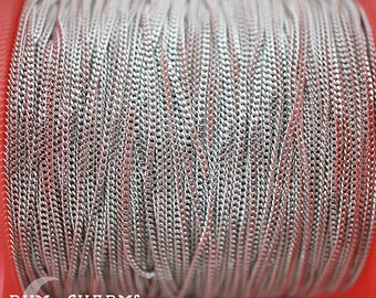C009 - Chain - Flattened Curb Cable Chain, Glossy Original Rhodium Plated, Flattened Curb Flat Cable Chain, Sold by 1 Meter