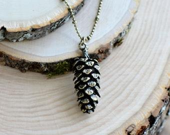Large Pine Cone Necklace, Vintage Style, Antique Bronze Pinecone Charm Pendant w/ Antique Bronze Chain (C006)