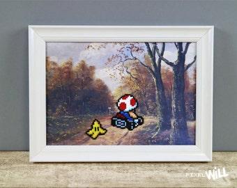 Mario Kart Pixel Art Painting, Perler Beads, Toad, Gamers Gift, 8 Bit