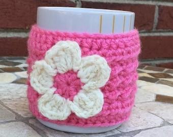 Coffee Mug Cozy/ Tea Mug Cozy/ Crochet Cup Cozy/Pink Rose Cozy/Pink Handmade Coffee Cup Cozy/Beverage cup Cozy/Novelty item/ FREE SHIPPING