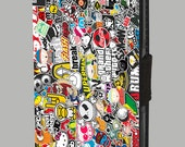 Sticker Bomb Graffiti Wall Street Art Collage Work  for iPhones and Samsung Galaxy  Leather Wallet Cover H003