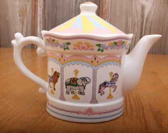 Vintage Carousel Porcelain Teapot