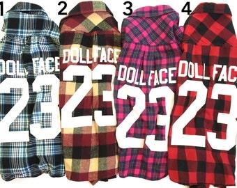 Women's DOLL FACE Vintage Flannels (XS)   grunge flannel   oversized flannel   women's flannel