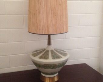Mid Century Modern Table Lamp Ceramic Cream Retro 3-Way Vintage Pottery