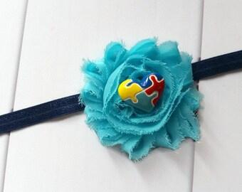 Aqua & Navy Blue Shabby Chic Flower Autism Awareness Headband | Autism Headband | Shabby Chic Flower Awareness Headband, Autism Accessories