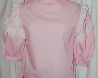 vintage pink blouse, puff sleeve, ruffle blouse, button down, 60s 70s top, country blouse, square dance, rockabilly