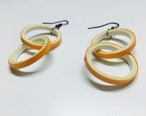 Yellow and white Small Quilled Paper Earrings