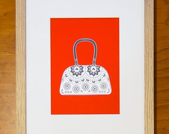 ZuckerTasche printing limited in red or yellow, sugar skull, handbag, wall decorations