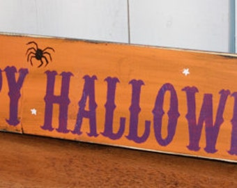 Happy Halloween Sign/Mantel/Wall/Shelf Sitter/Halloween Decor/Business/Fall/Wood Sign/Orange/Purple/Fun Halloween/Lavender/Sale