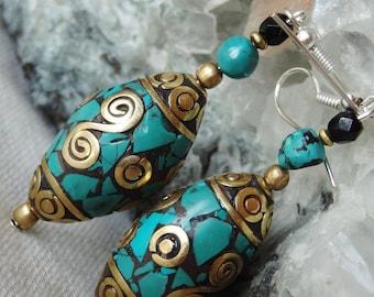 Nepalese earrings turquoise
