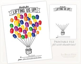 THUMBPRINT ART / teacher gift / classroom party activity / DIY printable