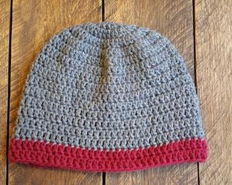 Dark grey / maroon crochet beanie hat