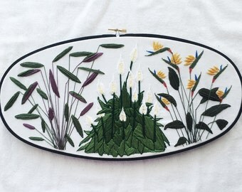 Plant Embroidery Hoop Art Wallhanging