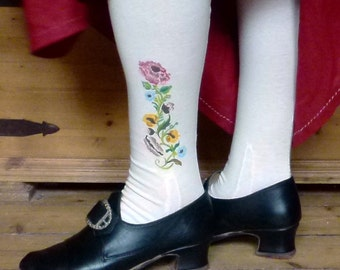 Stockings 100% cotton handpainted, handsewn, made to measure. 18th century, replica, rococo, baroque, empire