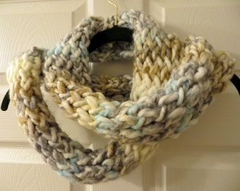 Handmade Knit Ice Storm Chunky Infinity Scarf