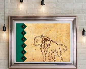wolf typographic art print, Arabic typography, lonley wolf