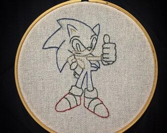Sonic the Hedgehog Embroidery Hoop
