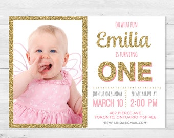 First Birthday Invitation Girl, Pink And Gold Birthday Invitation, Photo Invitation, Glitter, First Birthday