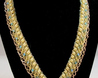 Yellow Pearl, Sparkling Crystal Bicone, and Seed Bead, V Scallop Necklace