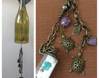 Sea Turtles and Sand Handmade Wind Chime made from a Recycled Wine Bottle