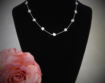 SALE !!! Floating Star Mother of Pearl Necklace
