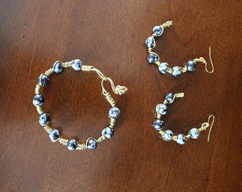 Midnight Pearls Earring and Bracelet Set
