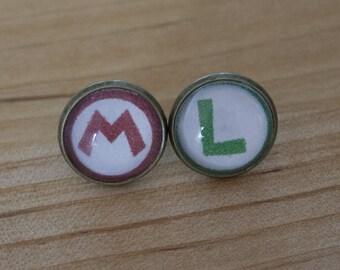 Handmade earring video game Mario and Luigi