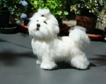 Maltese puppy needle felted OOAK dog made to order