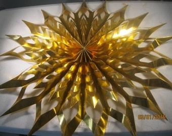Vintage Large Gold Color Foil Type Folding Christmas Star
