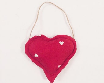 Hanging heart, fabric love heart, wall decor, padded heart, red and white heart, heart pattern, country home, fabric hanging heart