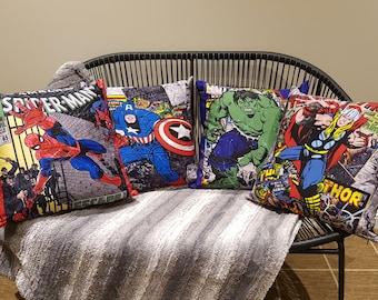 "Handmade Marvel DC Comic cushion covers, 18"" (45x45cm).  Spiderman, Thor, Hulk, Captain America ."