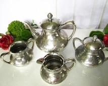Antique Quadruple Silver Plate Pairpoint Tea Set Circa Late 1800's Rare