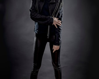 Black Jacket with Zip on back side and long sleeves