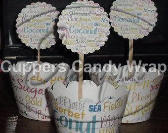 Promote Your Business Scalloped or Straight Edged Cupcake Wrappers & Toppers