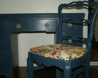 Blue Vintage Desk and Chair