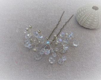 Wedding hairstyle hairpin Crystal bead silver