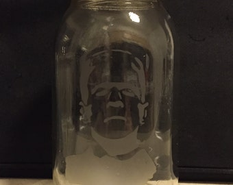 Frankenstein's Monster Mason Jar Glass Etch