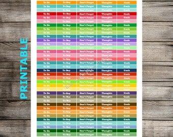 PRINTABLE Task Headers Planner Stickers for Erin Condren Life Planner Vertical - Monthly Colors or Happy Planner