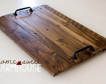Rustic Wood Serving Tray, Decorative Tray, Farmhouse Style Tray, Distressed Wood Tray, Rustic Home Décor, Wedding Gift MADE TO ORDER