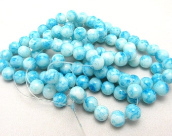 1 Strand 8mm Mottled Glass Round Beads Blue (B64a)
