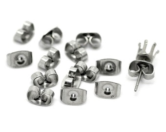 10pr Stainless Steel Earring Ear Nuts Silver Tone 7 x 4mm (B23)
