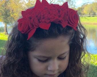 Felt headband Red Blossoms