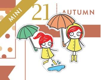 P010-Rainy day stickers, umbrella stickers, planner stickers, rain stickers, puddles, rainboots, 45 stickers, mini size