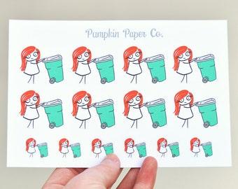 P117 - Garbage planner stickers, planner stickers, garbage reminder stickers, take out trash stickers, 14 stickers, PPC33