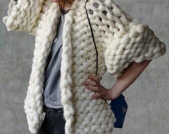 Cardigan giant wool, big yarn sweater, chunky knitted sweater, giant knit sweater,  Chunky yarn knit cardigan, oversized knit sweater,