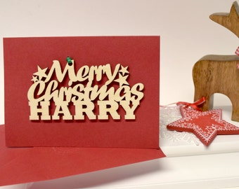 Personalised Merry Christmas Card - Christmas Card - Handmade Christmas Card - Wooden Motif Christmas Card - Cards for Her - Cards for Teens
