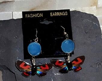 ON SALE real butterfly wing earrings. lady in pink butterfly wing jewelry. ARCPINL
